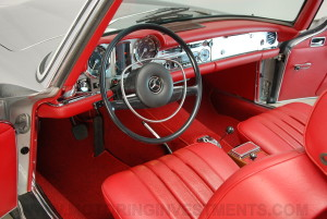 1971 Mercedes 280SL cockpit drivers side, red