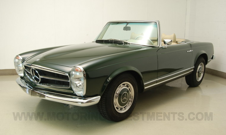 Left front view: 280SL, Pagoda dark olive over parchment