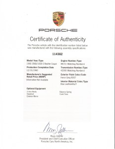 Porsche 356b coupe Certificate of Authenticity (COA)